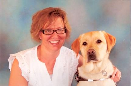 Liz and Dublin Guide Dog Team