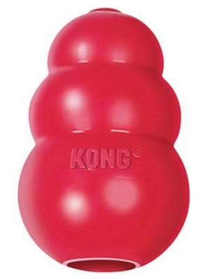 KONG Classic Dog Toy - red, rubber toy kind of looks like a red snowman.