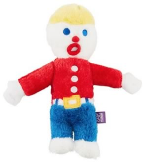 The classic SNL character Mr. Bill as a stuffed Dog Toy. Little man in red shirt and blue pants