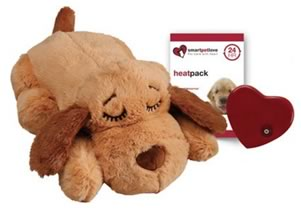 Cute Brown Plush Snuggle Puppy Dog Toy with heat packs and heart beat.